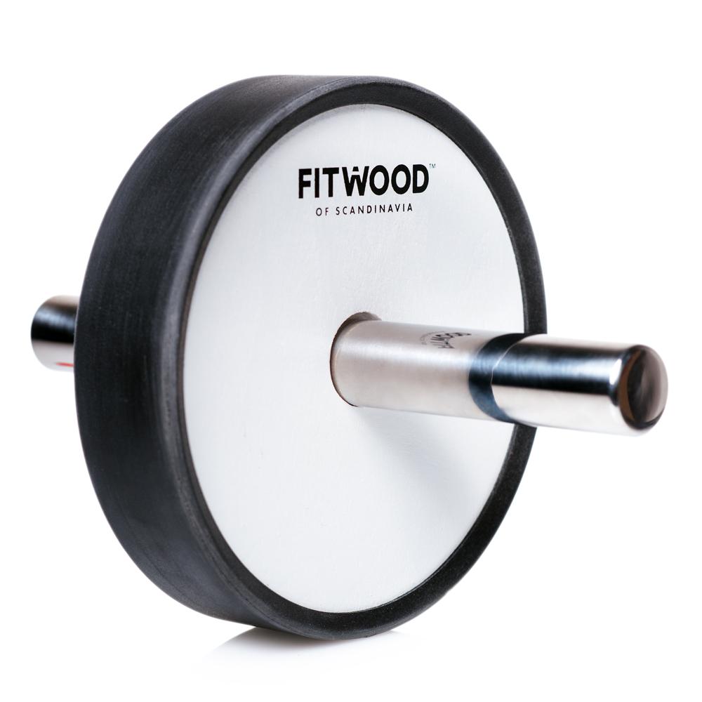 Image of FitWood Kjerag Ab Wheel - Hvid Træ / Rustfri Stål Håndtag / Sort Ring (7094)