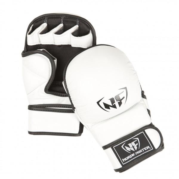 Nordic Fighter MMA Handsker Shooto Gloves Pro White Ægte Læder Small