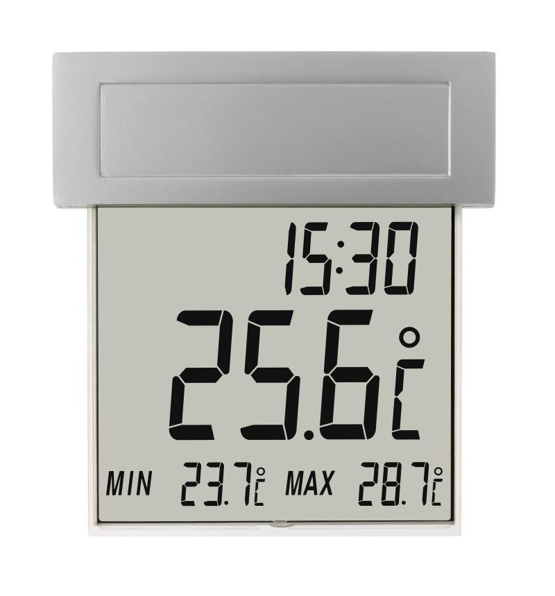 Køb UT 101 Udendørs Vinduestermometer m. Ur og Solceller